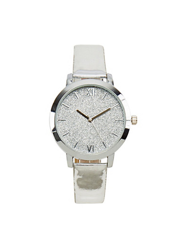 Roman Numeral Glitter Face Watch,SILVER,large