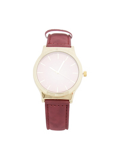 Ombre Watch with Faux Leather Strap,WINE,large