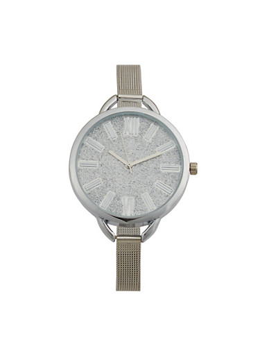 Thin Metallic Mesh Strap Glitter Face Watch,SILVER,large