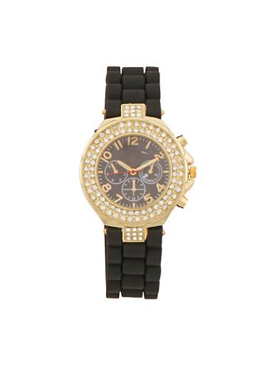 Rubber Watch with Rhinestone Bezel,BLACK,large