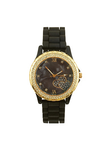 Rhinestone Bezel Watch with Rubber Chain Strap,BLACK,large