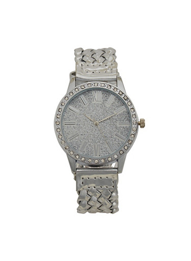 Glitter Face Watch with Woven Strap,SILVER,large