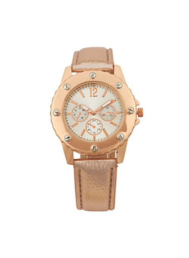 Embossed Faux Leather Bezel Watch,ROSE,large
