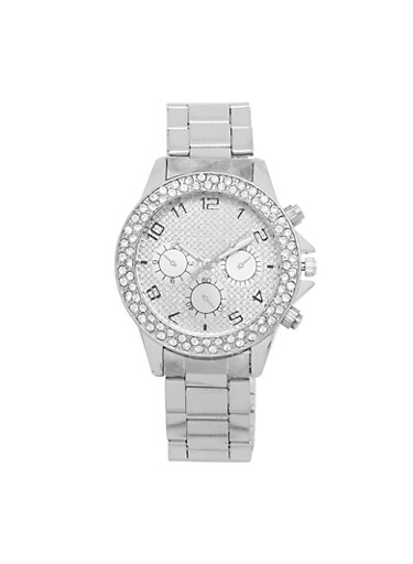 Rhinestone Bezel Metallic Watch,SILVER,large