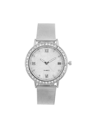 Rhinestone Bezel Watch with Metal Mesh Band,SILVER,large