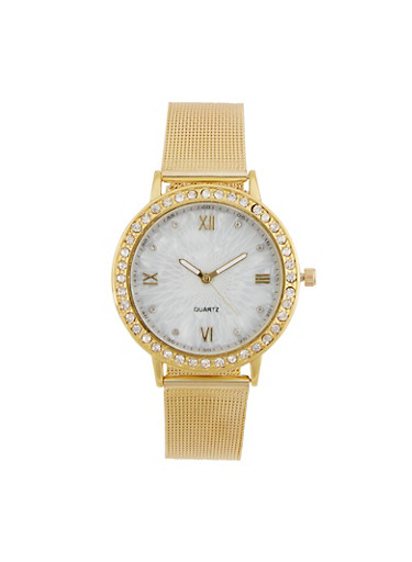 Rhinestone Bezel Watch with Metal Mesh Band,GOLD,large