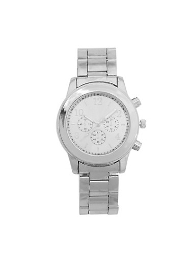 Chunky Metal Watch,SILVER,large