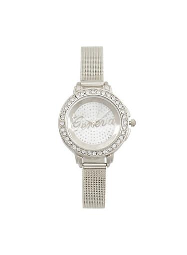 Thin Rhinestone Bezel Metallic Mesh Watch,SILVER,large