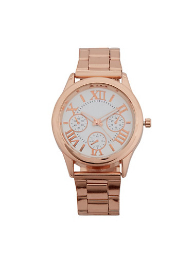 Roman Numerals Face Watch,ROSE,large