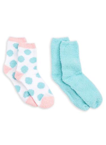 2 Pack Green Polka Dot Fuzzy Socks,GREEN S(SEAFORM/DOT_,large
