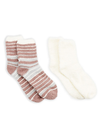 2 Pack Ivory Tan Striped Fuzzy Socks,IVORY=TAN STRIPE,large