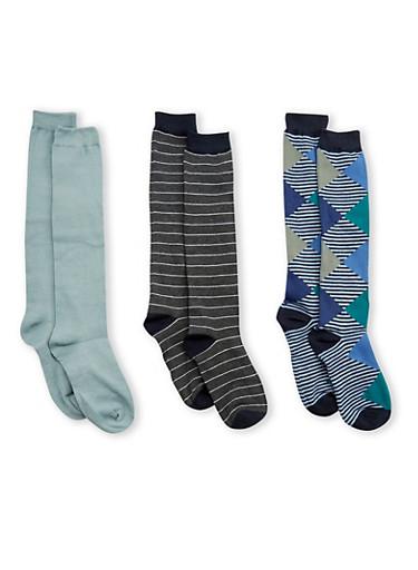 Set of 3 Knee High Socks,CHARCOAL,large