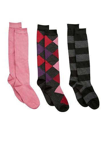 Set of 3 Knee High Socks,MAUVE,large