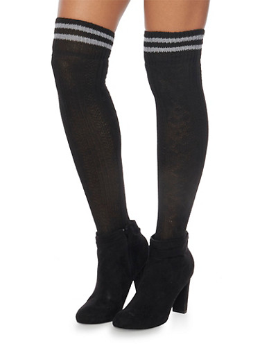 Knit Over the Knee Varsity Socks,BLACK,large