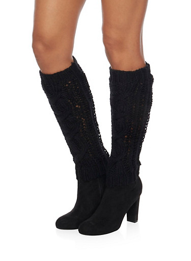 Leg Warmers with Shimmer Knit,BLACK,large