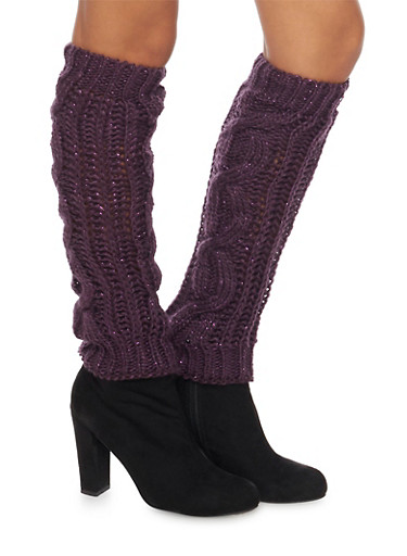 Leg Warmers with Shimmer Knit,PURPLE,large