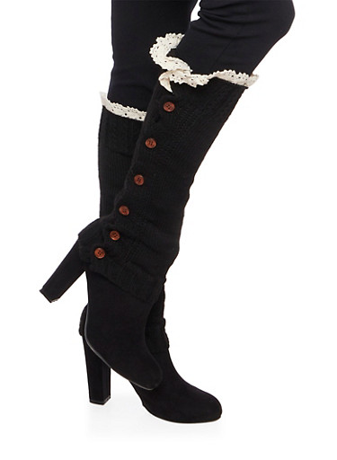 Knit Buttoned Legwarmers with Crochet Trim,BLACK,large