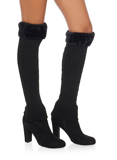 Rib Knit Leg Warmers with Faux Fur Cuffs,BLACK,large