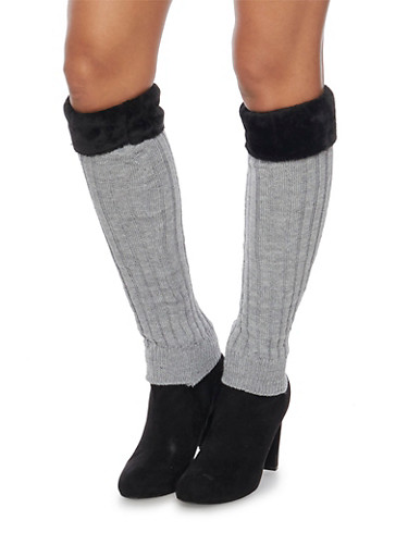 Rib Knit Leg Warmers with Faux Fur Cuffs,CHARCOAL,large
