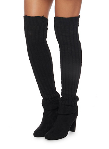Rib Knit Over the Knee Leg Warmers,BLACK,large