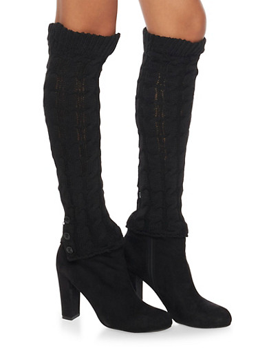 Cable Knit Leg Warmers with Button Cuffs,BLACK,large