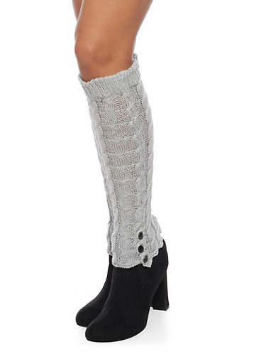 Cable Knit Leg Warmers with Button Cuffs,GRAY,large
