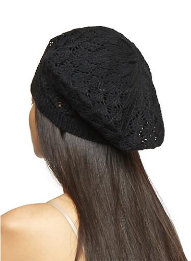 Crochet Beret,BLACK,large
