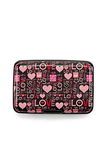 Card Holder Wallet with Love and Heart Print,HRT LOVE,large
