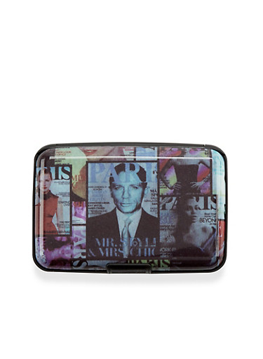 Card Holder Wallet with Magazine Cover Print,ID MAG MULTI,large