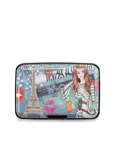 Card Holder Wallet with Parisian Fashionista Print,PARIS CITY,large