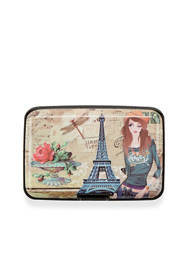 Card Holder Wallet with Parisian Fashionista Print,PARIS ROSES,large