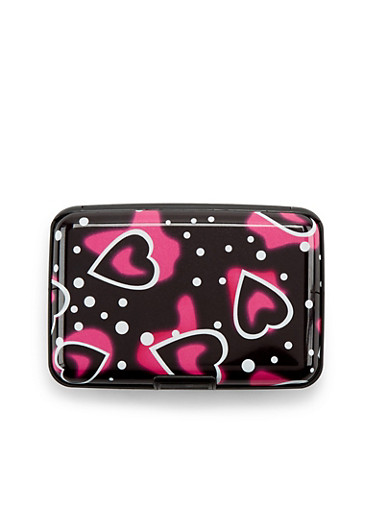 Card Holder Wallet with Heart Print,LOVE,large