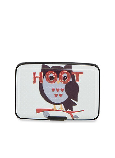 Card Holder Wallet with Hoot Owl Print,OWL HOOT,large