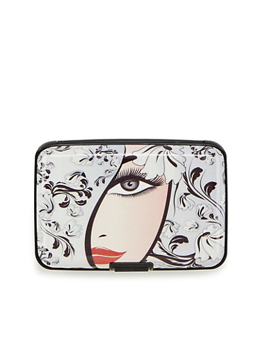 Card Holder Wallet with Glamour Shot Print,LADIES FACE,large