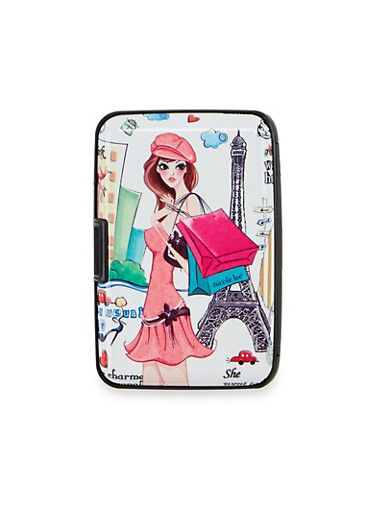 Card Holder Wallet with Parisian Fashionista Print,PARIS SHOP GIRL,large