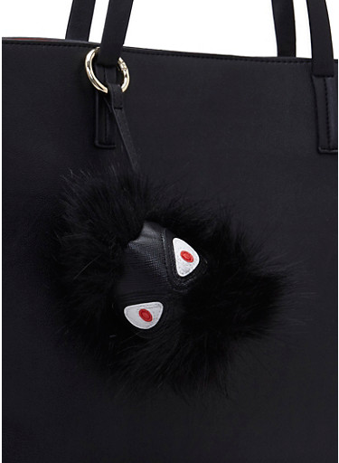 Faux Fur Bag Charm with Faux Leather Monster Face,BLACK,large