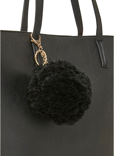 Yarn Pom Pom Keychain,BLACK,large