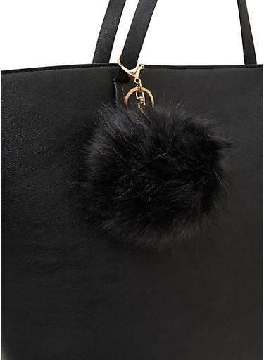 Faux Fur Pom-Pom Bag Charm,BLACK,large
