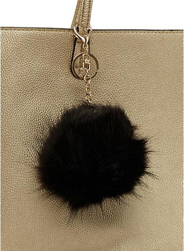 Faux Fur Pom Pom Keychain,BLACK,large
