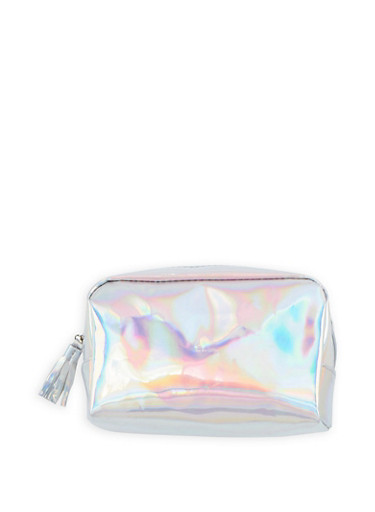 Holographic Cosmetics Bag,SILVER,large