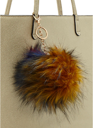 Multicolored Pom Pom Keychain,MUSTARD,large
