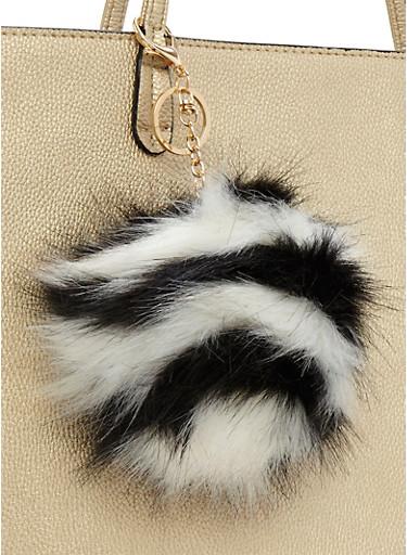 White Multi Stripe Pom Pom Keychain,BLACK/WHITE,large