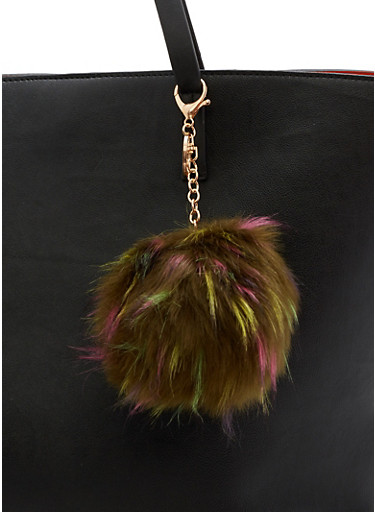 Faux Fur Multi Colored Pom Pom Keychain,OLIVE,large