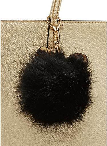 Rhinestone Ears Pom Pom Keychain,BLACK/LPRD,large
