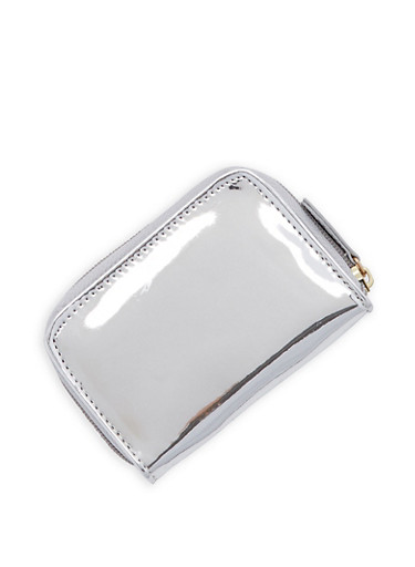Mini Mirrored Metallic Zip Wallet,SILVER MIRROR,large