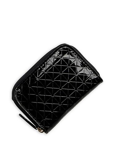Mini Embossed Zip Wallet,BLACK,large