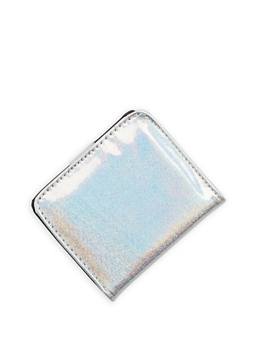 Mini Glitter Bifold Wallet,SILVER,large