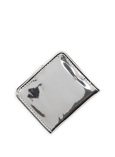 Mini Mirrored Metallic Bifold Wallet,SILVER,large