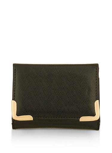 Small Chevron Texture Metallic Wallet,BLACK,large
