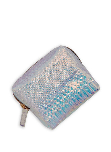 Holographic Textured Zip Pouch,SILVER,large